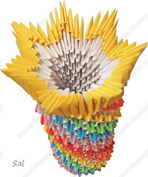 Мастер-класс Поделка изделие Оригами китайское модульное Ваза Радужный Ёж Бумага фото 11