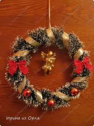 """Насмотревшись на ЧУДЕСНЫЕ, ЗАМЕЧАТЕЛЬНЫЕ и очень нарядные веночки к Рождеству, у меня """"зачесались"""" руки попробовать смастерить себе такой же веночек. фото 3"""
