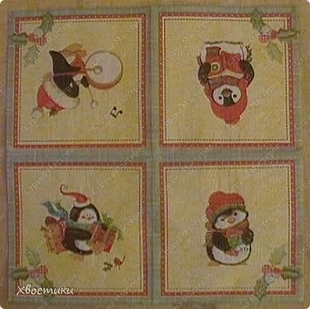 Захотелось мне сделать что-нибудь новогоднее для садика. А времени почти что нет. И тут удача - в магазине увидела недорогие симпатичные салфетки (всего по 26 руб.). Картон, клей карандаш, скручиваем ленты гофрированной бумаги - для веревочек - и ВСЁ!!! фото 4