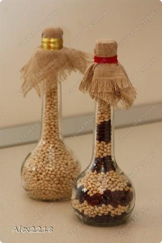Декоративные бутылки с фасолью фото 1