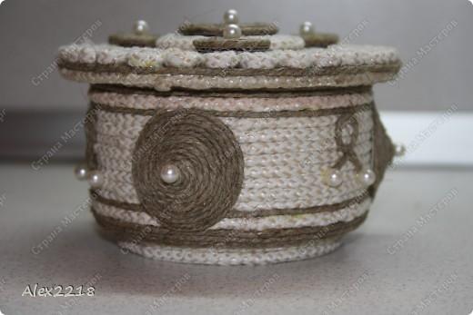 Шкатулка из бельевой веревки и шпагата фото 2