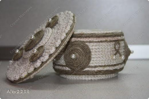 Шкатулка из бельевой веревки и шпагата фото 3