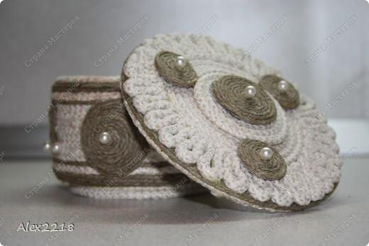 Шкатулка из бельевой веревки и шпагата фото 4