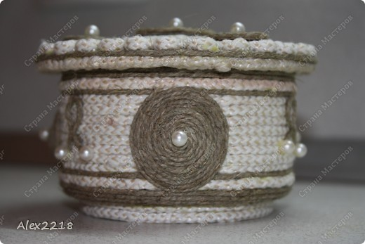 Шкатулка из бельевой веревки и шпагата фото 5