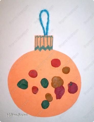 Вот такие шарики новогодние мы делали с Сонечкой ( 1г 4мес). фото 1