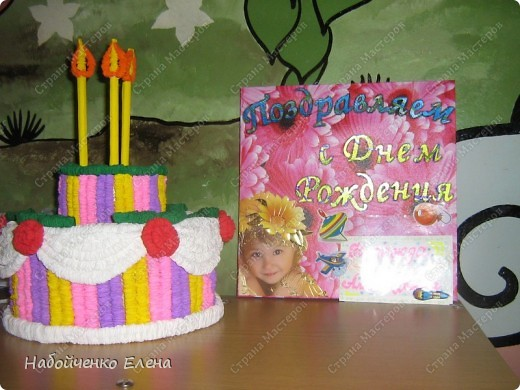 Увидела торт http://stranamasterov.ru/node/31491 и не смогла удержаться, что бы не сделать, теперь поздравляем наших ребят с Днем Рождения, а рядом рамка, где мы вставляем имя именинника