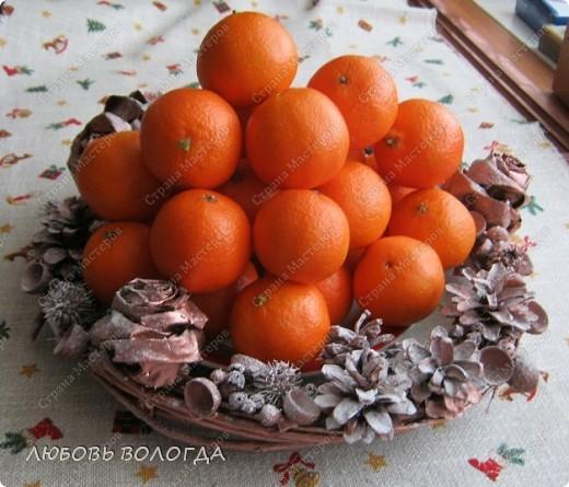 Венок из природных материалов. (мандарины настоящие:)))) ) фото 6