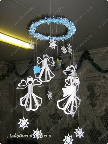 Мастер-класс Новый год Бумагопластика Вот такие ангелочки Бумага Клей Нитки Проволока фото 18