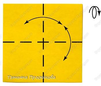 Возьми квадрат бумаги. Согни его пополам и разогни в обоих направлениях. фото 1