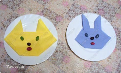 Кот и кролик/зайчик из бумажных салфеток фото 1