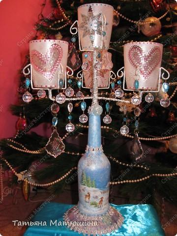 Подсвечник.Или что можно сделать из куска проволоки,бутылки и старой люстры.  Декупаж.