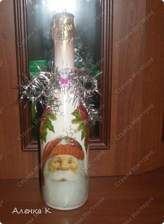 Мои новогодние подарки готовы! Использовала одинаковые салфетки, но все бутылочки получились разные. фото 10