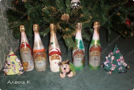 Мои новогодние подарки готовы! Использовала одинаковые салфетки, но все бутылочки получились разные. фото 1