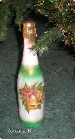 Мои новогодние подарки готовы! Использовала одинаковые салфетки, но все бутылочки получились разные. фото 3