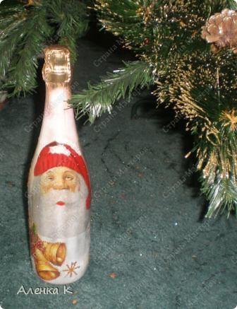 Мои новогодние подарки готовы! Использовала одинаковые салфетки, но все бутылочки получились разные. фото 5