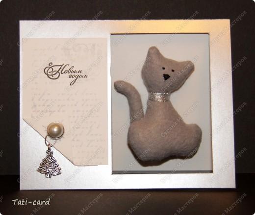 Новогодняя открытка с котиком фото 1