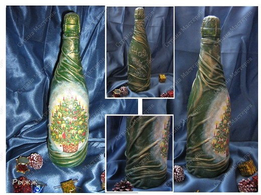 Снова! Новогодний декор бутылки