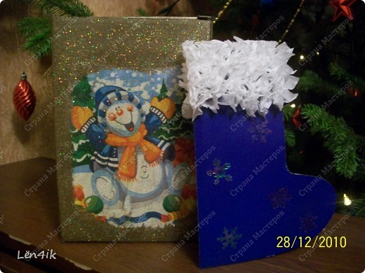 упаковка и открытка для крестницы..первый раз пробовала себя в декупаже.. фото 1