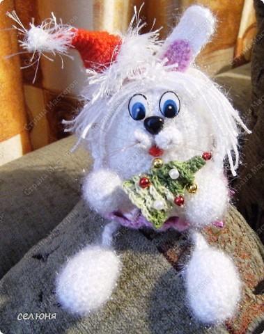 Это символ 2011 года - зайка-очаровашка. Мой мастер-класс по вязанию такого чуда здесь - http://kru4ok.ru/tag/konkurs-belyjj-krolik/page/6/  фото 2