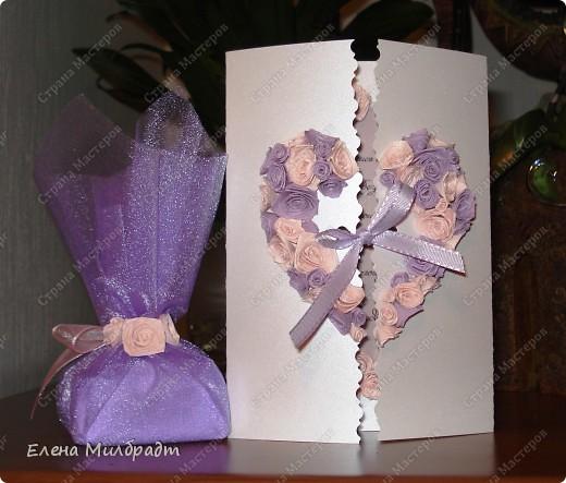 Это оформление пользуется очень большим спросом у мужчин, кто как не мы женщины учим их красиво сказать «Я тебя люблю»!-) Были и случаи поздравления супруги с Новорожденным. Внутри открытки в конвертик они вкладывали поздравительные и благодарственные записочки, ну а подарок, конечно же колечко!-)  фото 1
