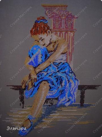 """Картина вышитая бисером""""Букет"""".Выполнена в  технике монастырского шитья.Небольшая 36х35 см. фото 3"""