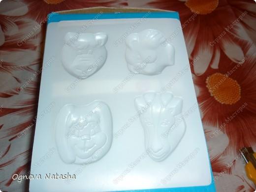 Исходные материалы: 1.Гипс 2.Краски(можно взять любые) 3.Формочки(можно использовать специальные,а можно взять обычные детские игрушки для песочницы) 4.Коробка 5.Бесцветный лак для ногтей или лак для волос 6.Магниты фото 3