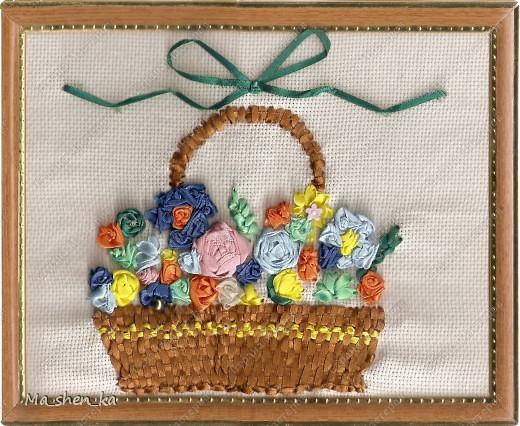Корзина с цветами (Вышивка лентами)