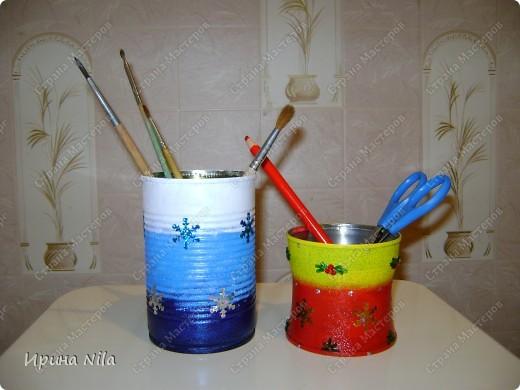 Карандашницы-жестяные банки, безотходное использование содержимого и самих банок. А все к Новому году! фото 1