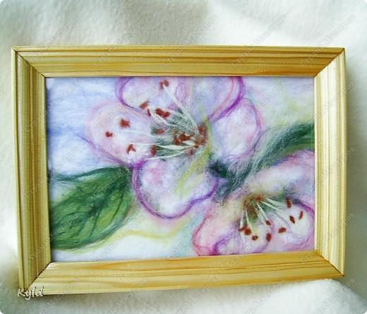 Картина панно рисунок Мои первые картины из шерсти  Шерсть фото 3