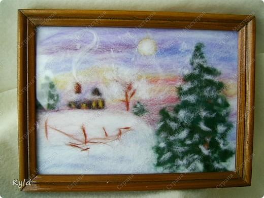 Картина панно рисунок Мои первые картины из шерсти  Шерсть фото 1