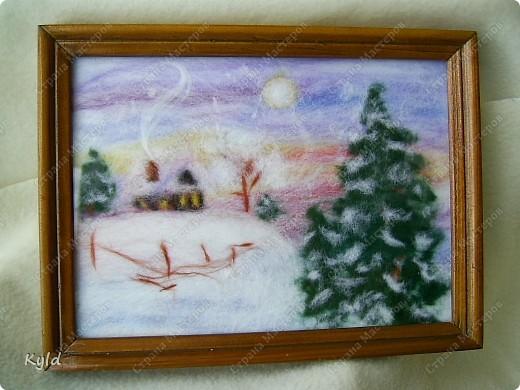 Картина панно рисунок Мои первые картины из шерсти  Шерсть фото 2