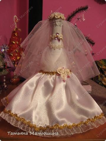 Свадебное украшение бутылки фото 2