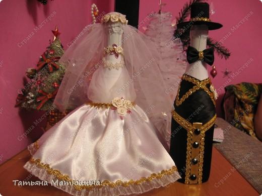 Свадебное украшение бутылки фото 1