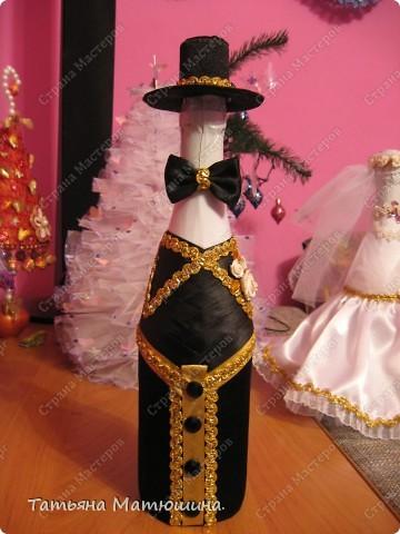 Свадебное украшение бутылки фото 3