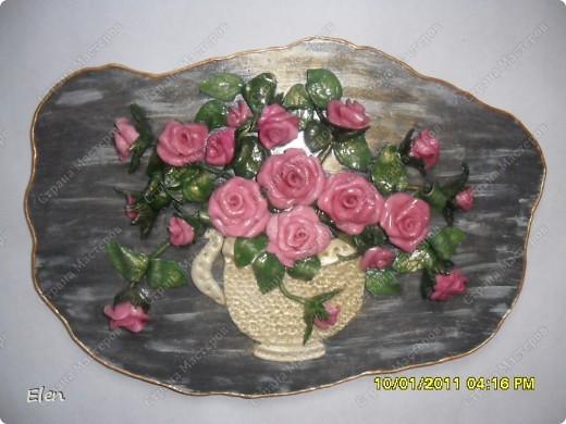 Основа панно гипсовая,цветочки соленое тесто фото 1