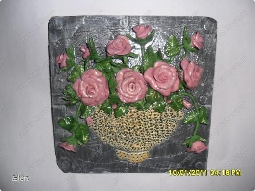 Основа панно гипсовая,цветочки соленое тесто фото 2