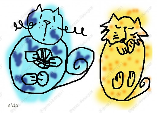 вот таких котиков я рисовала для НГ открыток фото 1