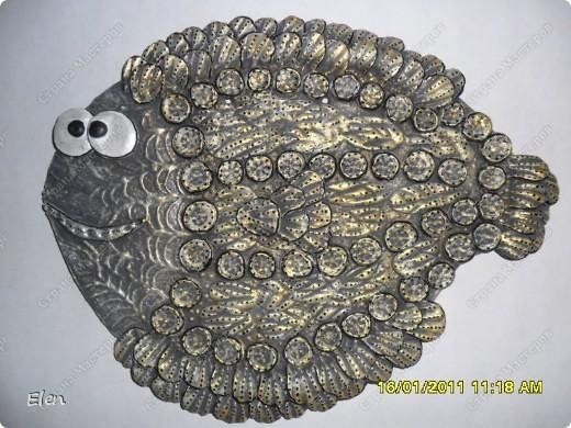 рыбка из гипса,сверху лепка соленое тесто фото 1