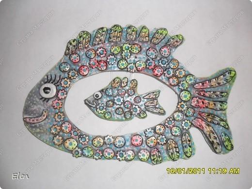 рыбка из гипса,сверху лепка соленое тесто фото 2