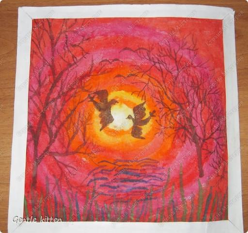 Рисовала лет 8 назад акварелью на накрахмаленной ткани. фото 1