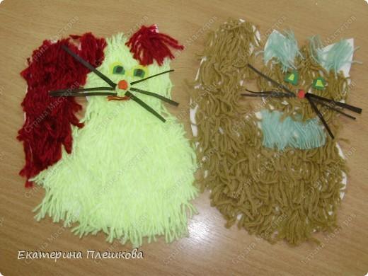 наши работы на уроке труда, 3 класс. Коты и снеговики. фото 2