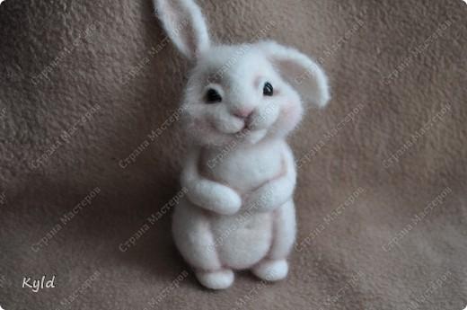 Ну вот, я наконец-то сваляла зайку по Мк Елены Смирновой.  Белая шерсть и иголки были куплены и вот мой заяц))) фото 1
