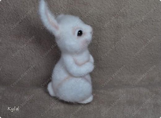Ну вот, я наконец-то сваляла зайку по Мк Елены Смирновой.  Белая шерсть и иголки были куплены и вот мой заяц))) фото 6