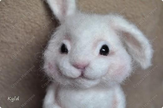 Ну вот, я наконец-то сваляла зайку по Мк Елены Смирновой.  Белая шерсть и иголки были куплены и вот мой заяц))) фото 8
