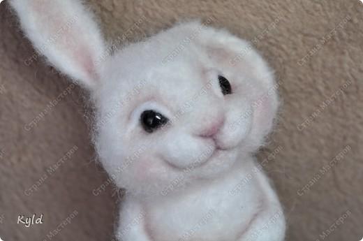 Ну вот, я наконец-то сваляла зайку по Мк Елены Смирновой.  Белая шерсть и иголки были куплены и вот мой заяц))) фото 9