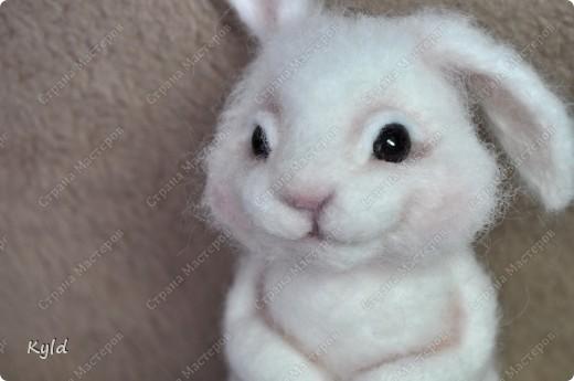 Ну вот, я наконец-то сваляла зайку по Мк Елены Смирновой.  Белая шерсть и иголки были куплены и вот мой заяц))) фото 10