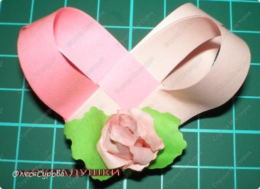 Вот такое сердечко из двух полосок с розочкой ... фото 1