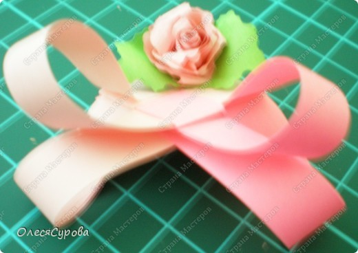 Вот такое сердечко из двух полосок с розочкой ... фото 3