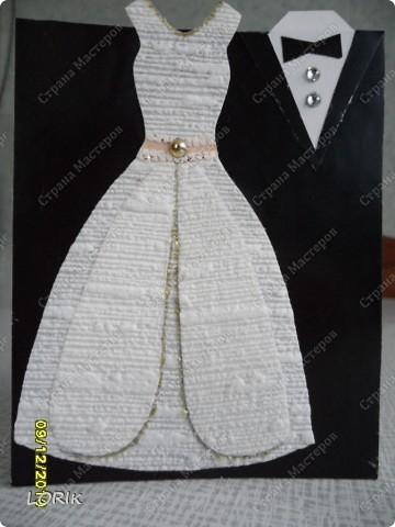 Это моя повторюшка, подарила коллеге в день бракосочетания. Платье невесты сделано из обоев. Идею нашла в Стране Мастеров, спасибо автору. фото 1