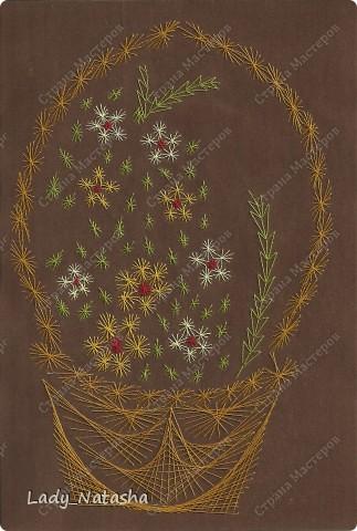 Картина панно рисунок Изонить Корзина с цветами Бумага бархатная Нитки.